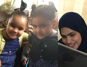 Rania Ibrahim and her two daughters.