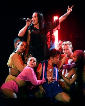 'Tame erotic interplay' ... Demi Lovato at the O2, 25 June 2018.