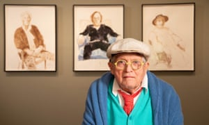 David Hockney with drawings from his exhibition David Hockney: Drawing from Life at the National Portrait Gallery, London.