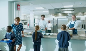 Headteacher Samantha Palin, left, with chefs Jake Taylor, centre, and Sam Riches, right, at Woodmansterne School in south London.
