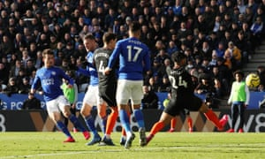 Leicester City's Ben Chilwell scores their second goal.
