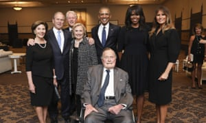 The Bush family with the Clintons, Obamas and Melania Trump at Barbara Bush's funeral.