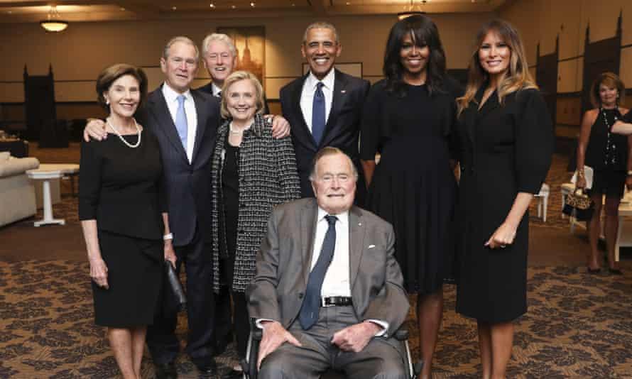 The Bush family with the Clintons, Obamas and Melania Trump at Barbara Bush's funeral.