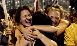 Members of Syriza youth celebrate the referendum result on 5 July 2015