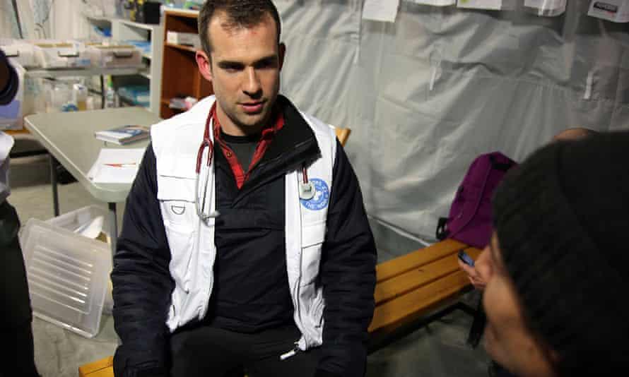 Dr Chris van Tulleken inside a medical tent in Serbia.