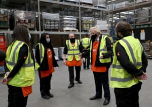 Boris Johnson speaking to apprentices during his visit to the B&Q store in Middlesbrough earlier.