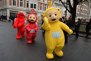 Teletubbies and a Muppet prepare to start the Hamleys Christmas toy parade on Regent Street