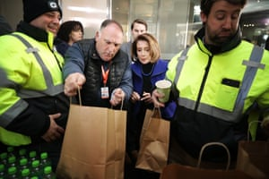 WASHINGTON, DC - JANUARY 22: Celebrity Chef Jose Andres (2nd L) gives a tour to U.S. Speaker of the House Nancy Pelosi (D-CA) of the Resource Center at the World Central Kitchen for furloughed federal workers January 22, 2019 in Washington, DC. Founded by Andres, World Central Kitchen is a not-for-profit non-governmental organization devoted to providing meals in the wake of natural disasters.