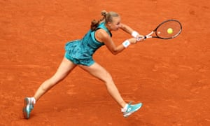Anna Blinkova of Russia plays a backhand.