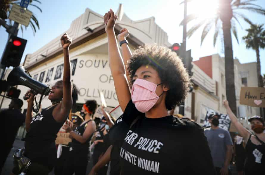 Black Lives Matter protesters march in Los Angeles, California.