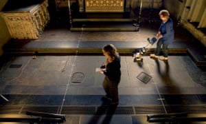 Archaeologists conducting the survey of William Shakespeare's grave at Holy Trinity church