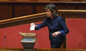 Maria Elisabetta Alberti Casellati casts her ballot