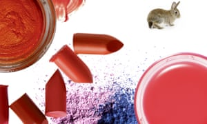 Animal fats are used in some cream blushers and eyeshadows (top left), crushed cochineal beetles in red lipsticks (centre) and beeswax in lipbalms.