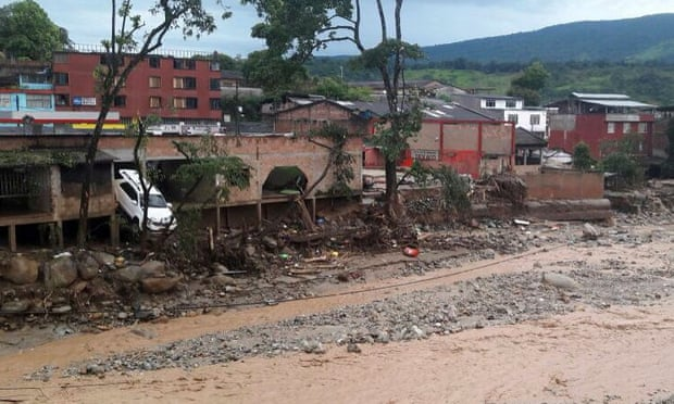 A picture provided by the Colombian army shows some of the damage caused by the landslide in Mocoa. Photograph: Colombian army/EPA