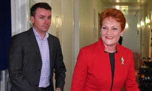 One Nation leader Pauline Hanson with media advisor James Ashby.