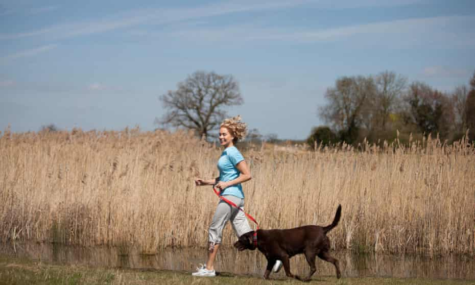 A woman jogs in the countryside with her dog