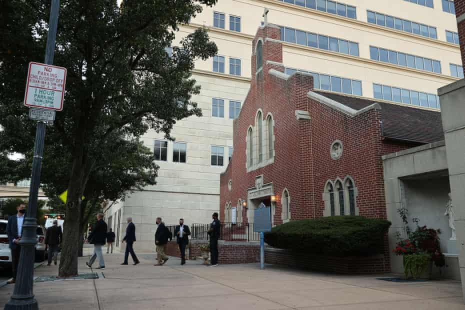 Joe Biden leaving mass at St Joseph's church on 3 October 2020 in Wilmington, Delaware.