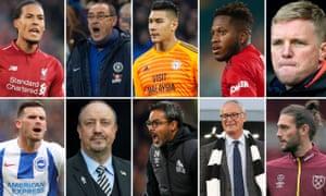 Virgil van Dijk, Maurizio Sarri, Neil Etheridge, Fred, Eddie Howe, Andy Carroll, Claudio Ranieri, David Wagner, Rafael Benitez and Pascal Gross.