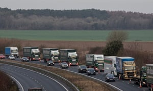 Lorries queue near Dover in a rehearsal for a no-deal Brexit