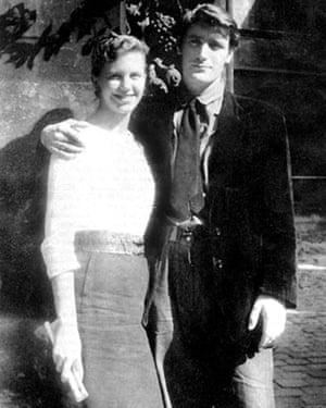 Plath and Hughes on their honeymoon in Paris.