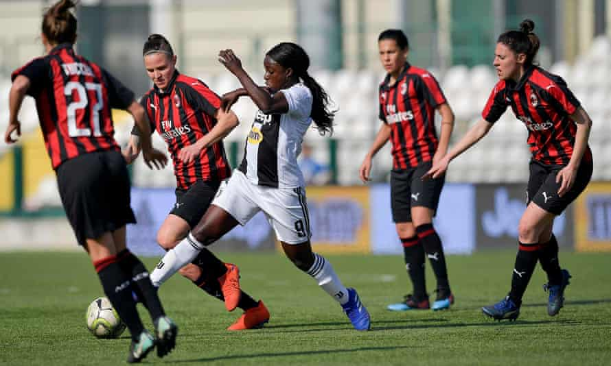 Eni Aluko in action for Juventus against Milan last Sunday, a game watched by more than 2,000 fans at the stadium and 135,000 on TV.