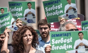 Supporters of the Peoples' Democratic Party (HDP) at Istanbul's Courthouse in May 2018. Its former leader, Selahattin Demirtaş, has been in prison for more than a year.