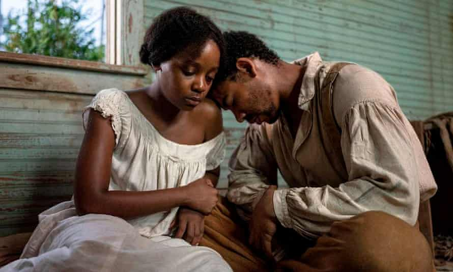 Thuso Mbedu as Cora Randall and Aaron Pierre as Caesar in The Underground Railroad.