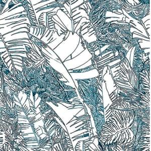 blue white black jungle leaved print wallpaper