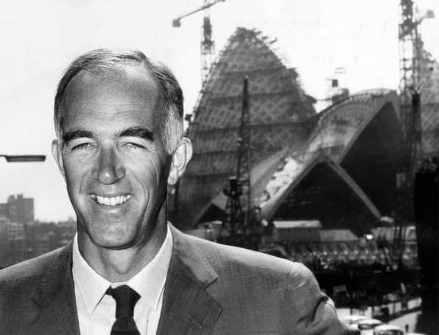 Jørn Utzon in front of the Sydney Opera House during its construction in the mid-1960s.