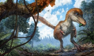 A reconstruction of a small coelurosaur approaching a resin-coated branch on the forest floor.