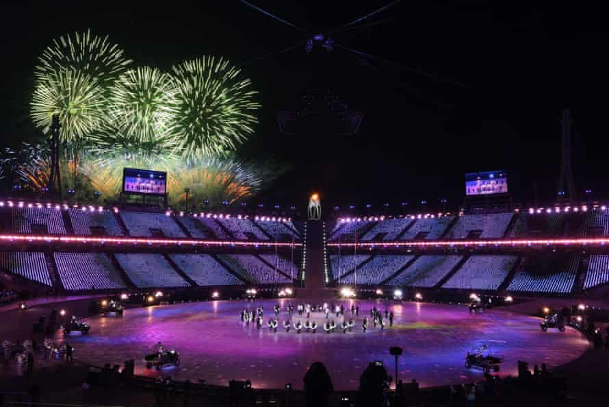 EXO perform during the closing ceremony - with fireworks in the distance