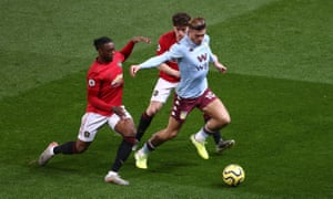 Aston Villa's Jack Grealish keeps a step ahead of two chasing Manchester United players in the 2-2 draw at Old Trafford.