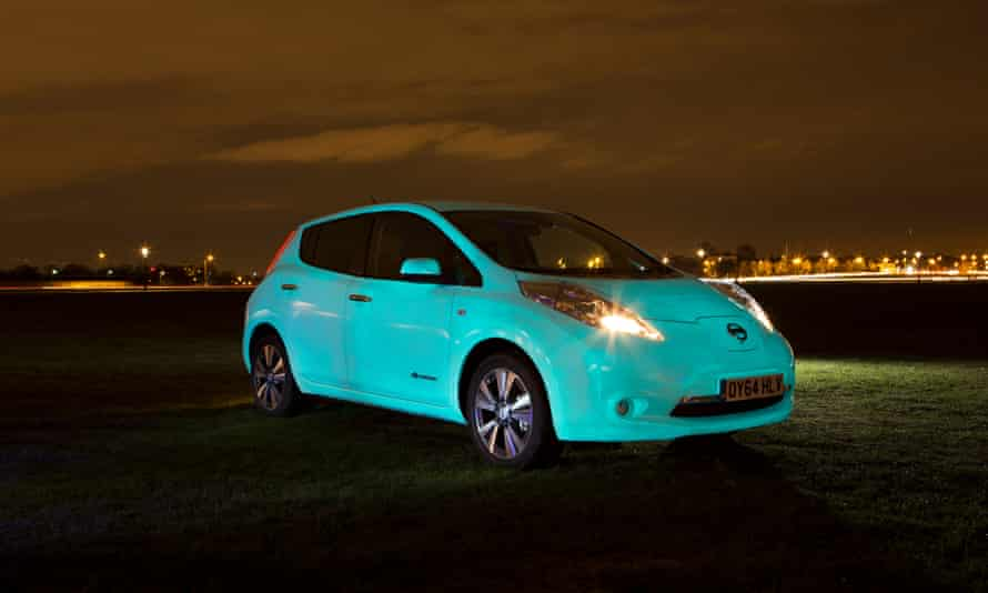 A Nissan Leaf photographed in Blackheath, London, England.