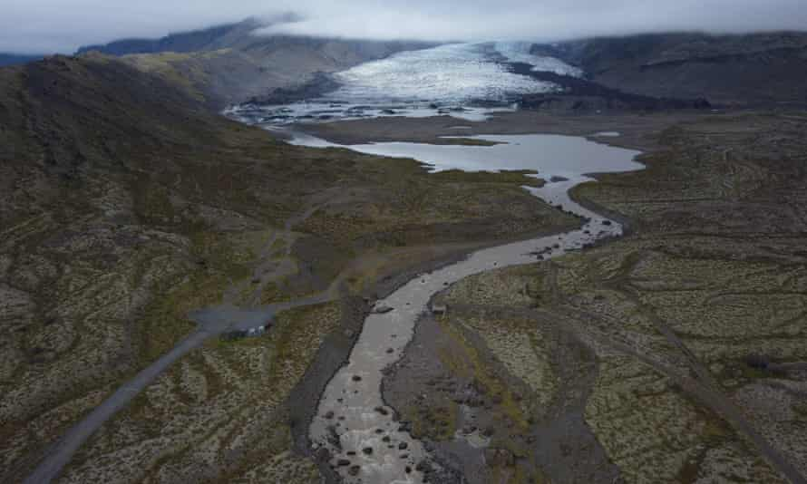 The receding Kviarjokull glacier in Iceland. Since the 1990s, 90% of Iceland's glaciers have been retreating.