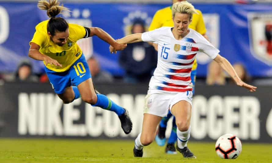 Megan Rapinoe (right) was excellent during the SheBelieves Cup but her team often struggled for rhythm