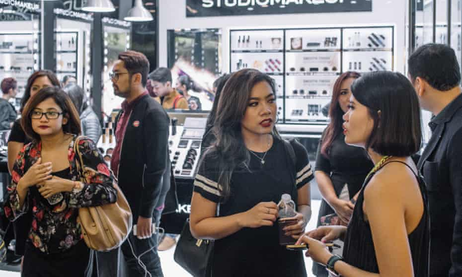 Visitors of a product launching event initiated by Studio Makeup in Grand Indonesia.