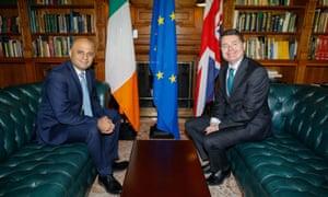 Irish finance minister Paschal Donohoe (right) with Sajid Javid in Farmleigh House, Dublin.