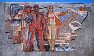 Soviet era wall mosaic in Karaghandy, Kazakhstan.