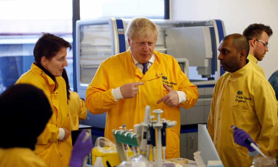 Boris Johnson visited a Public Health England laboratory in Colindale, north London, on Sunday