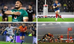 Clockwise: Ireland's Bundee Aki celebrates, Gael Fickou in action as France beat Argentina 28-13, Scotland's Stuart Hogg shows off his footwork, and Wales's Liam Williams scores a try in Cardiff.