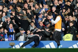 Antonio Conte celebrates with the crowd after that second goal.