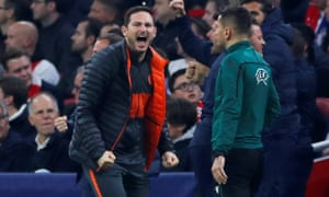 Frank Lampard celebrates after Michy Batshuayi's late winner for Chelsea against Ajax.