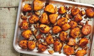 Yotam Ottolenghi's harissa and confit garlic roast potatoes.