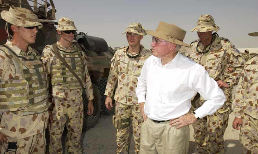 John Howard meets with Australian troops in Iraq in July 2005. Australia deployed about 500 troops to Iraq, including special forces, to assist the US-led invasion.