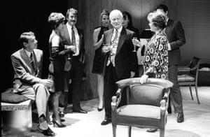 Party TimeRoger Lloyd Pack (Fred), Nicola Pagett (Charlotte), Gawn Grainger (Douglas), Cordelia Roche (Dusty), Barry Foster (Gavin), Dorothy Tutin (Melissa) directed by Harold Pinter. Almeida Theatre, 1991.