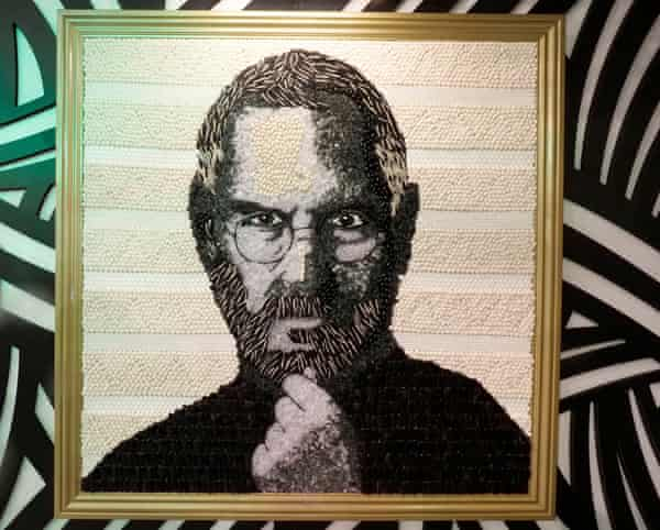 Men such as Steve Jobs are hailed as creative but built on others' inventions … a portrait of the Apple co-founder made out of jelly beans and liquorice at Candytopia, by the artist Jackie Sorkin, in San Francisco this month.