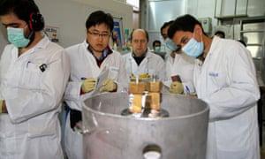 IAEA inspectors and Iranian technicians at the Natanz facility in January 2014.