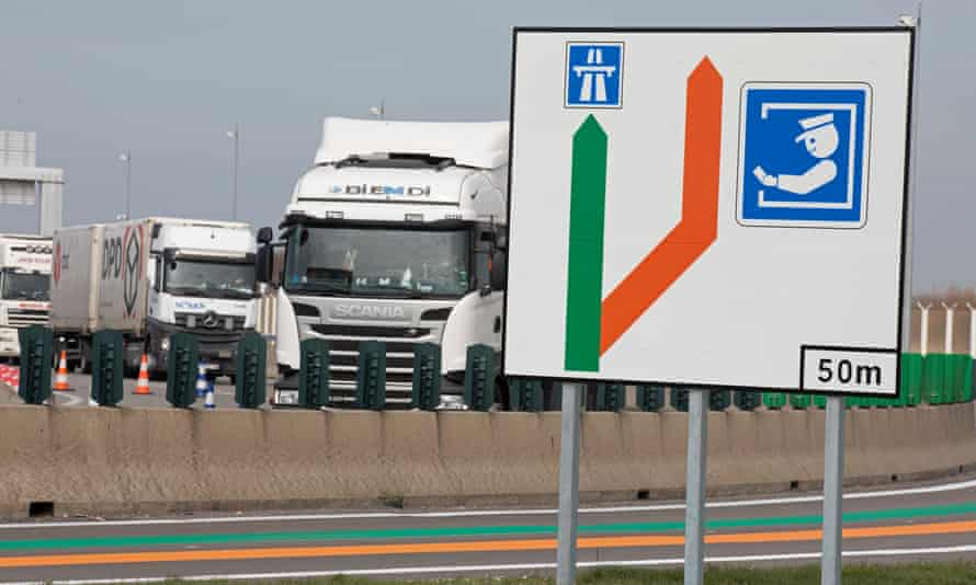 Customs checks signs at the Channel Tunnel entrance in Calais.