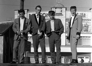 A group of Teddy Boys on the front at Lowestoft in 1962