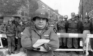 Barry Nuttall and his army, the 'Northern Allied Axis Society', man the barricades against Hull's council house demolition plans in 1983.